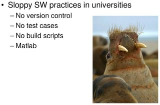 Poor software practices in universities make the walrus angry