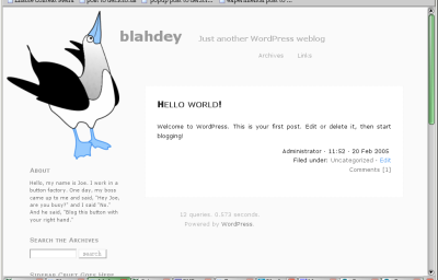 screenshot of the Blue-Footed Booby theme