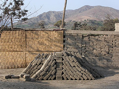 a stack of adobe bricks in Peru