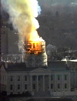 old capitol dome in flames