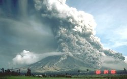 Pyroclastic flows descending Mt. Mayon, Philippines, September 1984
