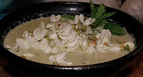 Cream of locust blossom soup