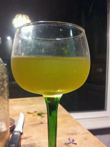 a greenish cocktail